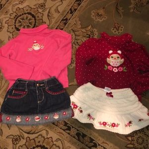 Owl Gymboree outfits long-sleeve shirts & skirts